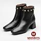 WONDERS-復古小方頭踝靴 黑 product thumbnail 1