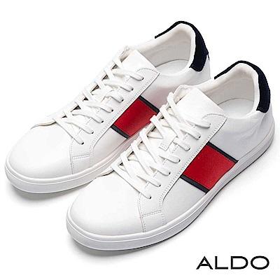 ALDO 原色拼接幾何色塊厚底刻痕綁帶式休閒鞋~清新白色