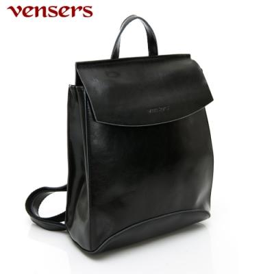 【vensers】小牛皮潮流個性包~後背包(NL1063701黑色)