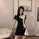 DABI 韓國風改良版旗袍式連裙短褲時尚套裝短袖褲裝
