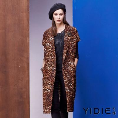 【YIDIE衣蝶】鑽飾西裝領豹紋口袋外套