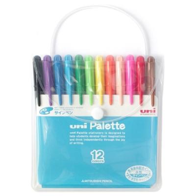 日本製造UNI食用染料簽字筆Palette水性彩色筆PW-503 12C PLT氈尖筆(12色組)麥克筆彩繪筆 適小朋友兒童