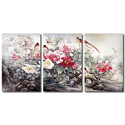 橙品油畫布 - 三聯牡丹無框藝術掛畫 - 富貴吉祥40x60cm