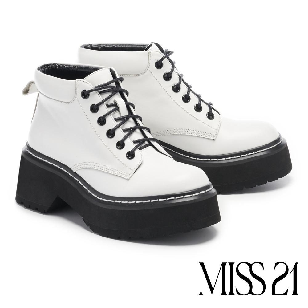 短靴 MISS 21個性穿搭厚底綁帶馬汀短靴-白