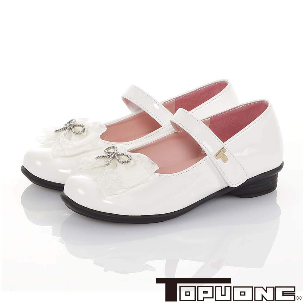 TOPUONE童鞋 傳統手工鞋廠蝴蝶結減壓公主皮鞋-白