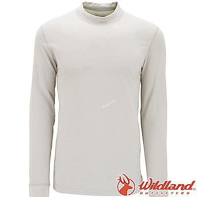 Wildland 荒野 W2652-81米白色 男遠紅外線保暖中領衛生衣