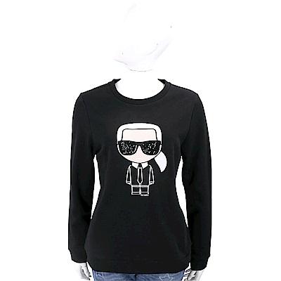 Karl Lagerfeld IKONIK 亮片墨鏡刺繡老佛爺黑色棉質運動衫