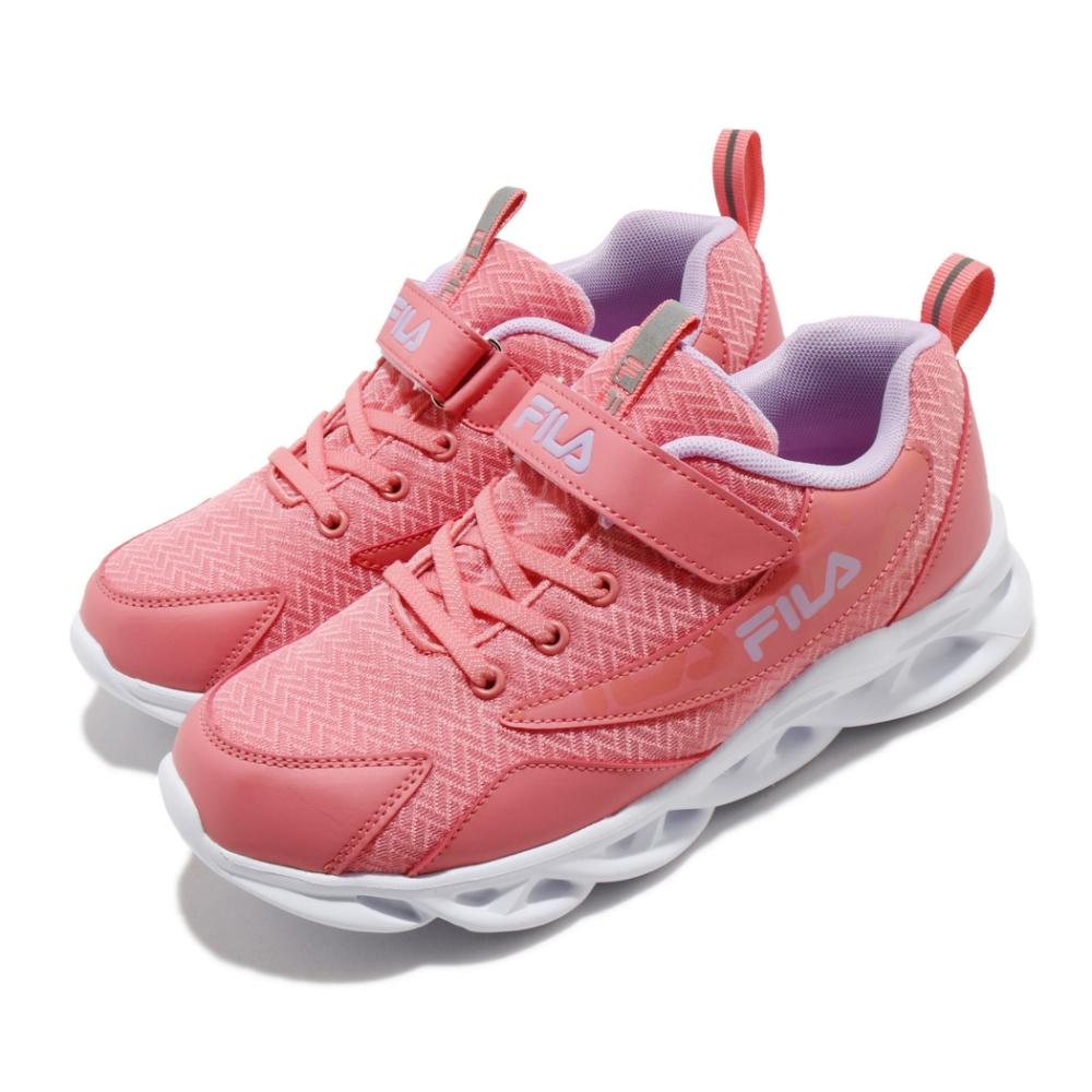 Fila 慢跑鞋 J801U 運動 魔鬼氈 童鞋 輕量 透氣 舒適 避震 中大童 粉 白 3J801U559