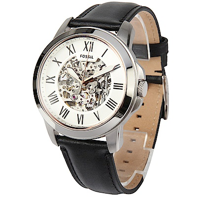 FOSSIL Grant 自動機械黑色皮革腕錶-(ME3101)-45mm