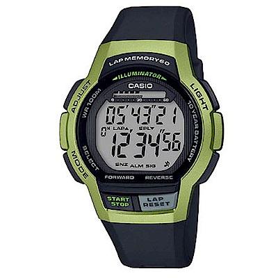 CASIO 數位時代輕量型混色運動休閒錶-綠框(WS-1000H-3A)/48.3mm