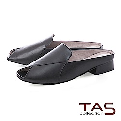 TAS 簡約羊皮魚口穆勒鞋-百搭黑