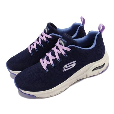 Skechers 休閒鞋 Arch Fit-Comfy Wave 女鞋 郊遊 健走 專利鞋墊 緩震 支撐 回彈 藍 白 149414-NVBL