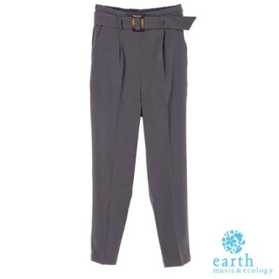earth music 腰帶錐形剪裁打摺長褲