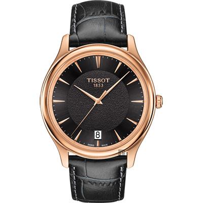 TISSOT天梭 18K玫瑰金 Fascination 石英錶-黑/40mm
