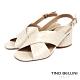 Tino Bellini 巴西進口復古摩登石頭紋粗跟涼拖鞋-米白 product thumbnail 1