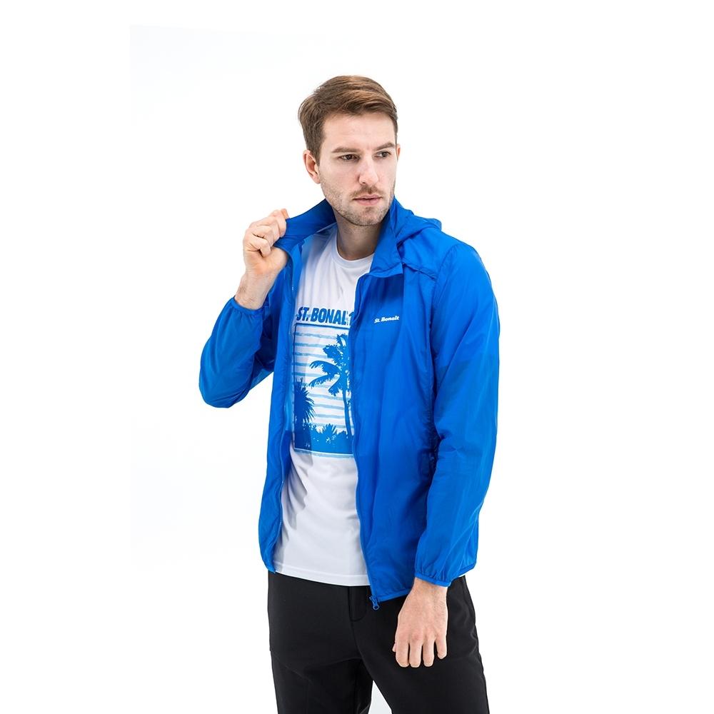【St. Bonalt 聖伯納】男款單色超輕透防曬外套 (8027-藍色) 抗UV 防曬 防風 防潑水 輕薄 透氣