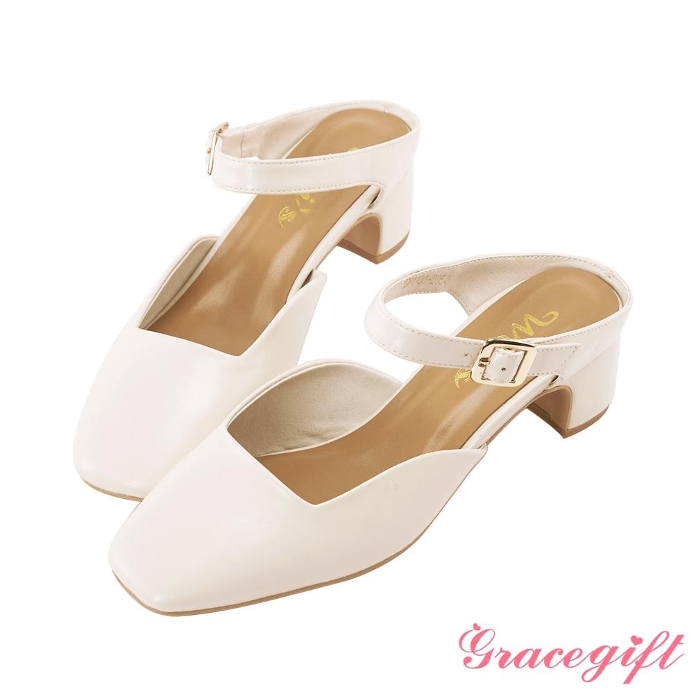 Grace gift X Wei-聯名方頭繫帶後空跟鞋 米白