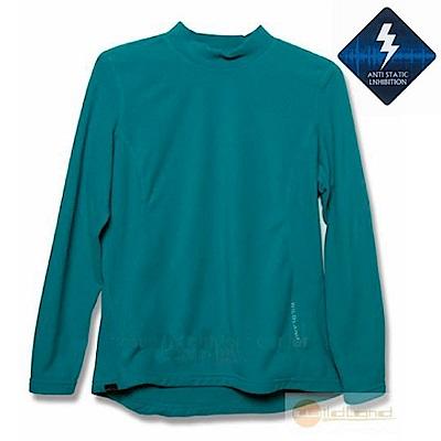 荒野 WildLand 女 彈性抗靜電保暖內刷毛衛生衣_土耳其藍