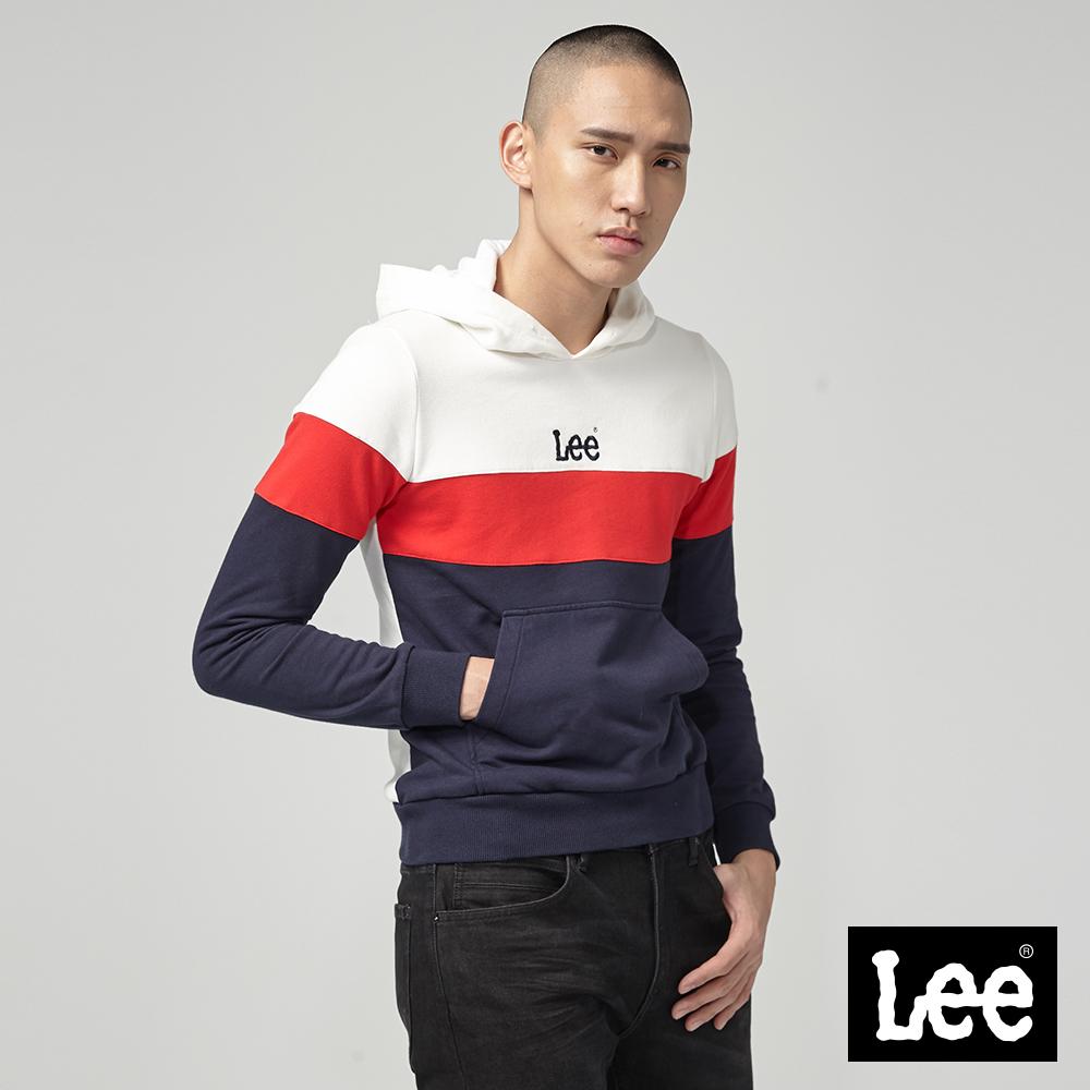 Lee 小LOGO色塊長袖連帽厚TEE/RG-標準版-丈青