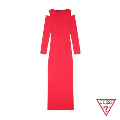 GUESS-女裝-露肩針織連身裙-紅