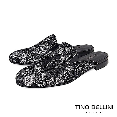 Tino Bellini 義大利進口歐式蕾絲提花平底穆勒鞋 _ 黑