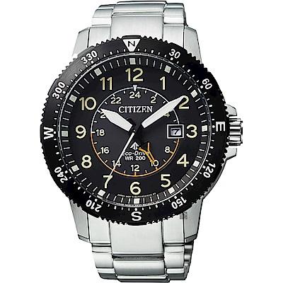 CITIZEN 星辰 PROMASTER 光動能第二地時間手錶-黑x銀/43.5mm