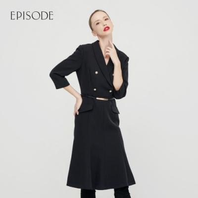 EPISODE - 黑色優雅收腰寬擺修身顯瘦西裝款長洋裝