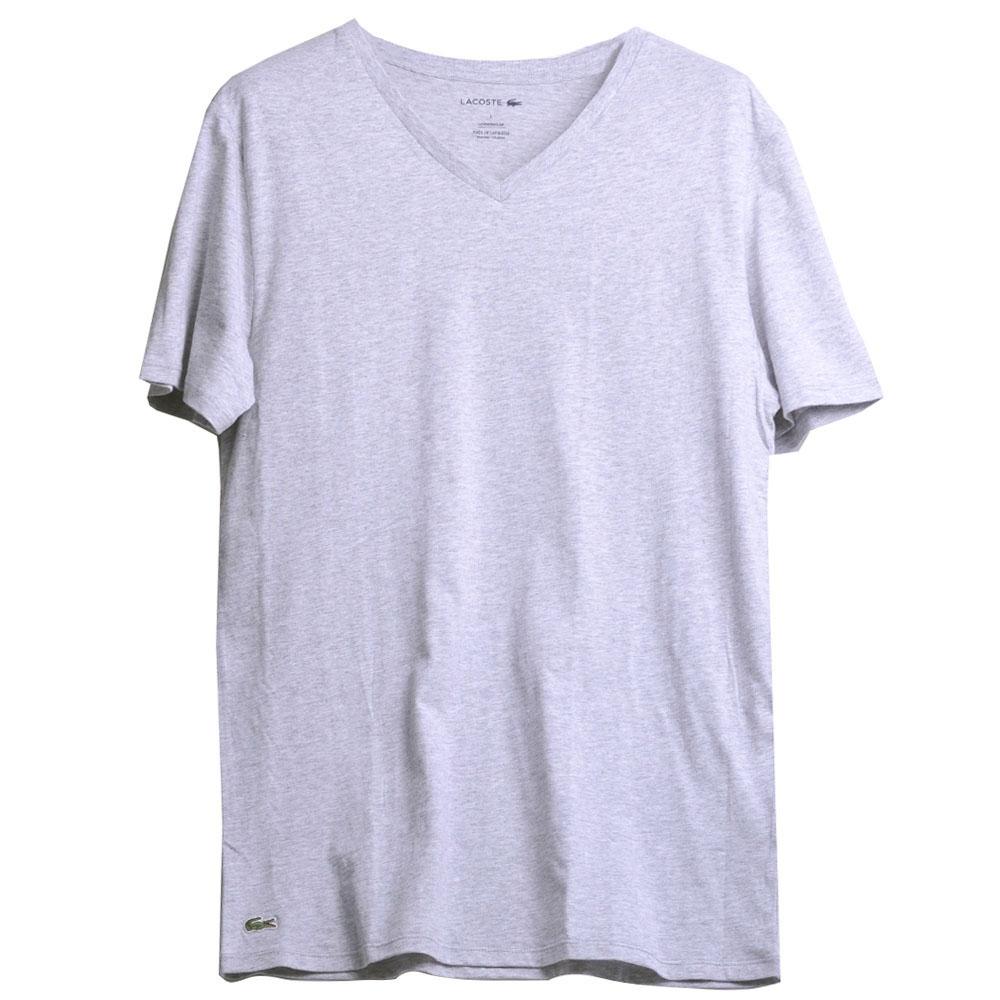 LACOSTE SLIM FIT 品牌經典鱷魚刺繡100%棉薄款V領短袖T恤上衣(灰色)