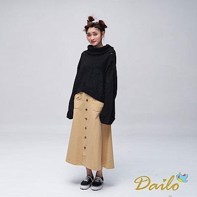 Dailo INLook落肩寬版高領反摺針織毛衣(黑)