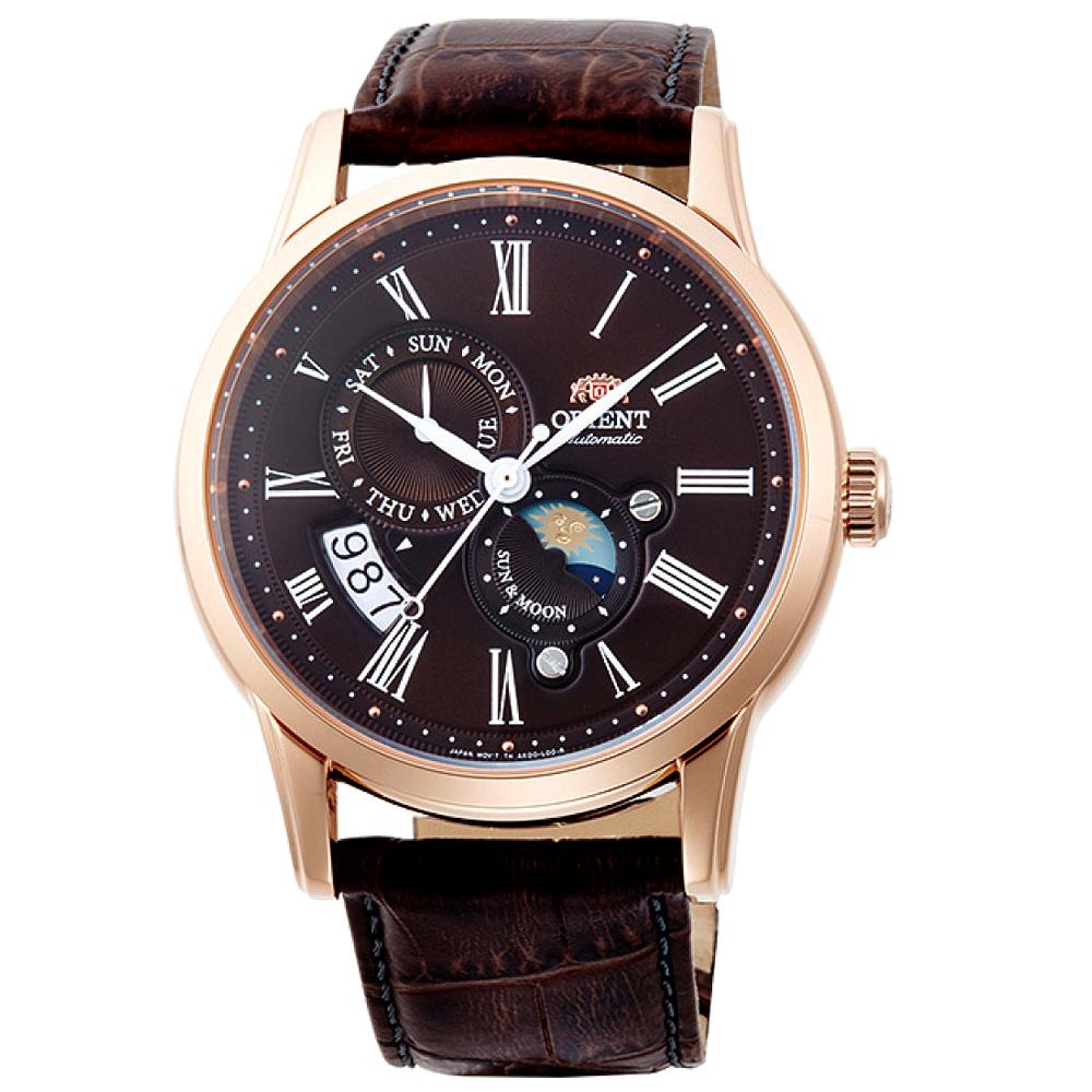 ORIENT   魅力雅爵日月相藍寶石機械腕錶(SAK00003T0)-棕面x41mm
