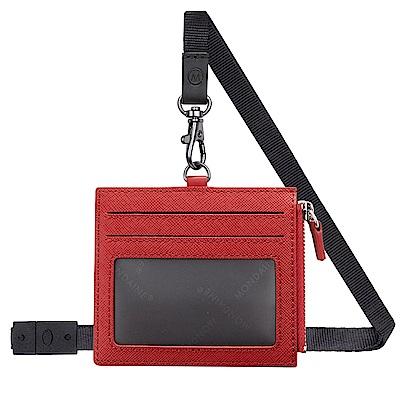 MONDAINE 瑞士國鐵牛皮4卡拉鏈安全釦證件套–紅