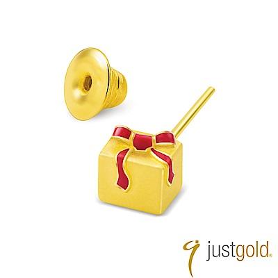 鎮金店Just Gold Ribbon Love純金系列 黃金單耳耳環-禮物