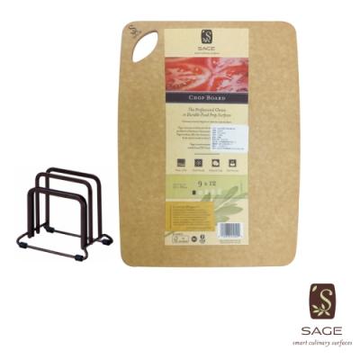 SAGE美國原裝 無菌木砧板_實用型23X30cm+TENMA砧板架