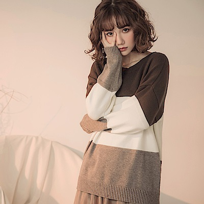 配色色塊包芯紗長袖針織毛衣-OB大尺碼