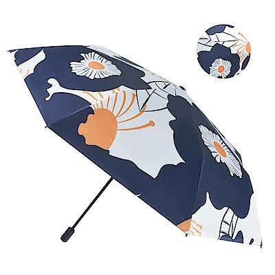 【2mm】100%遮光 提花杜鵑黑膠降溫手開傘 (丈藍)