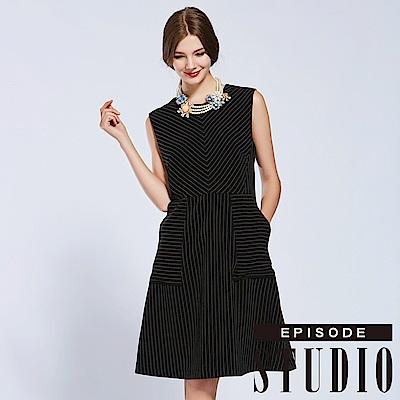 EPISODE Studio - 高雅條紋設計洋裝(黑)