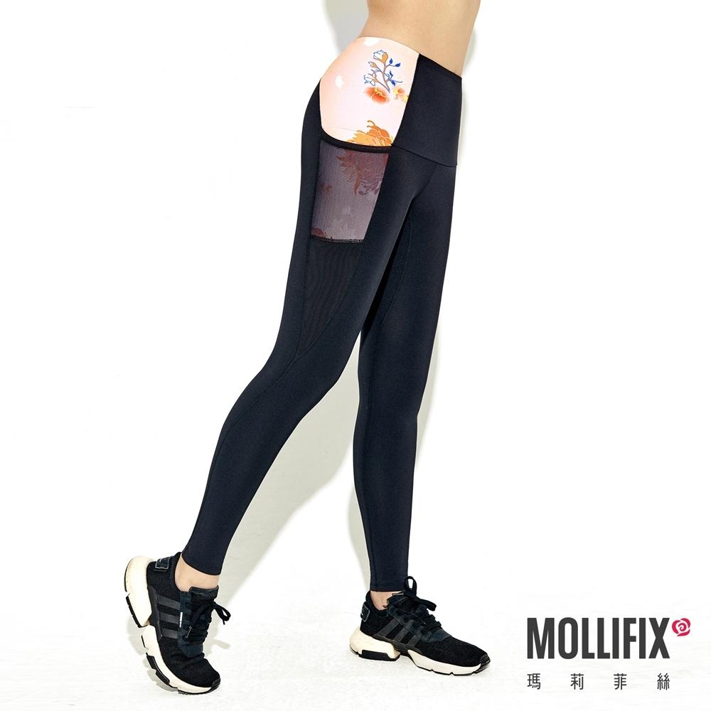 Mollifix 瑪莉菲絲 高彈力訓練動塑褲 (黑+落櫻粉)