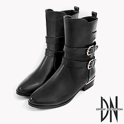 DN 潮流時尚 真皮金屬拉鍊皮帶中筒靴-黑
