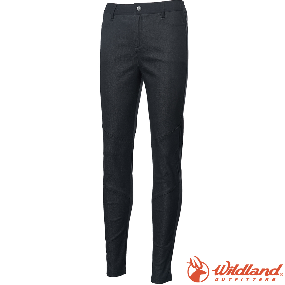 Wildland 荒野 0A62393-54黑色 女彈牛仔併接合身保暖褲