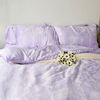 夢工場 沉韻花影天絲頂規款兩用被鋪棉床包組-特大