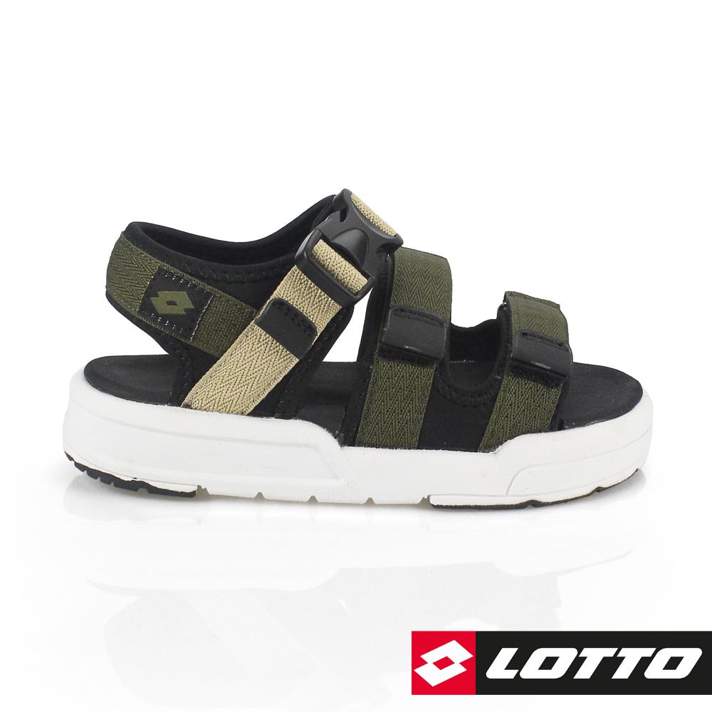 LOTTO 義大利 童 潮流織帶涼鞋 (軍綠)