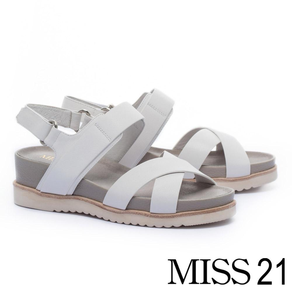 涼鞋 MISS 21 隨性極簡交叉帶全真皮厚底涼鞋-白