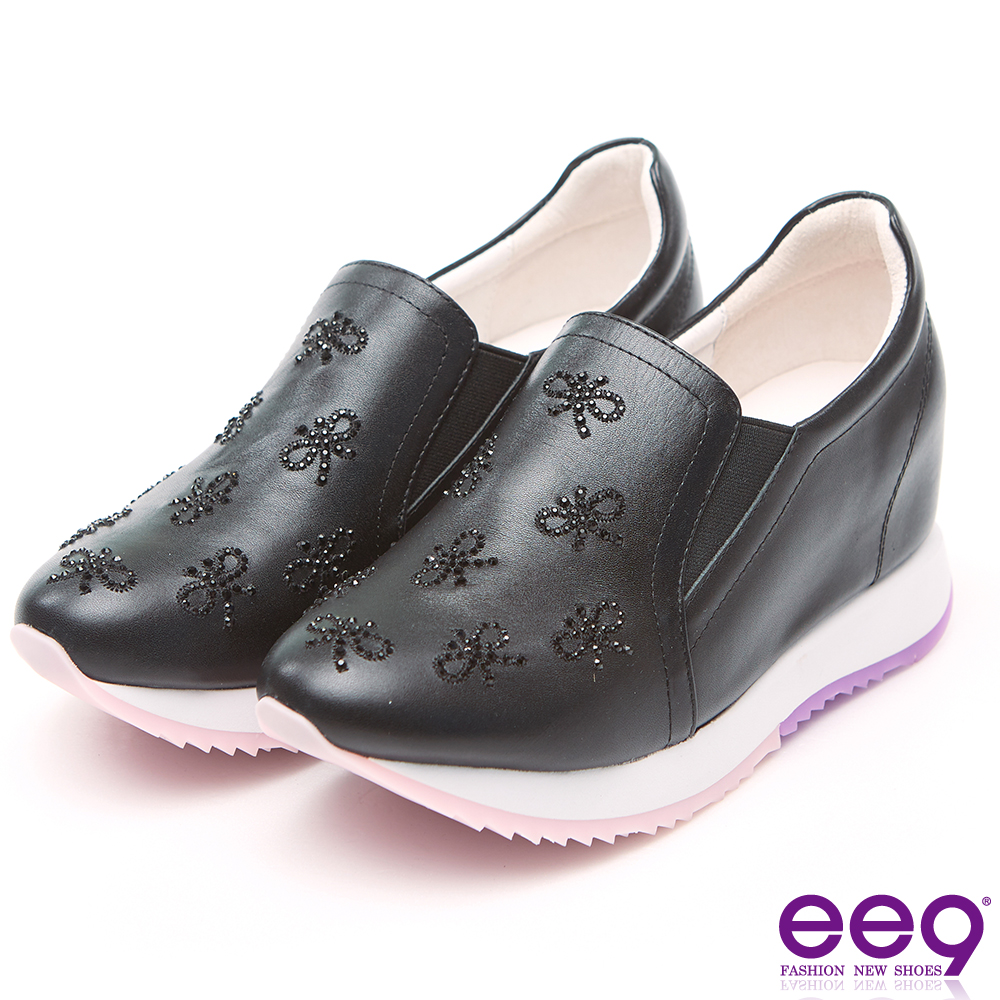 ee9 極致美學鑲嵌水鑽素面百搭厚底內增高休閒鞋 黑色