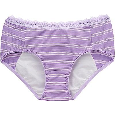 莎薇- 印花 M-LL 中低腰夜間生理褲(紫)吸濕透氣-貼身親膚