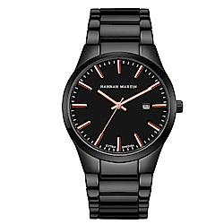 HANNAH MARTIN 午夜迷情立體刻度不鏽鋼腕錶-黑x38mm(HM1756-FH)