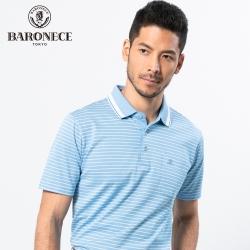 BARONECE 百諾禮士休閒商務 男裝 雙色網眼條紋短袖POLO衫-藍色(1188274-35)