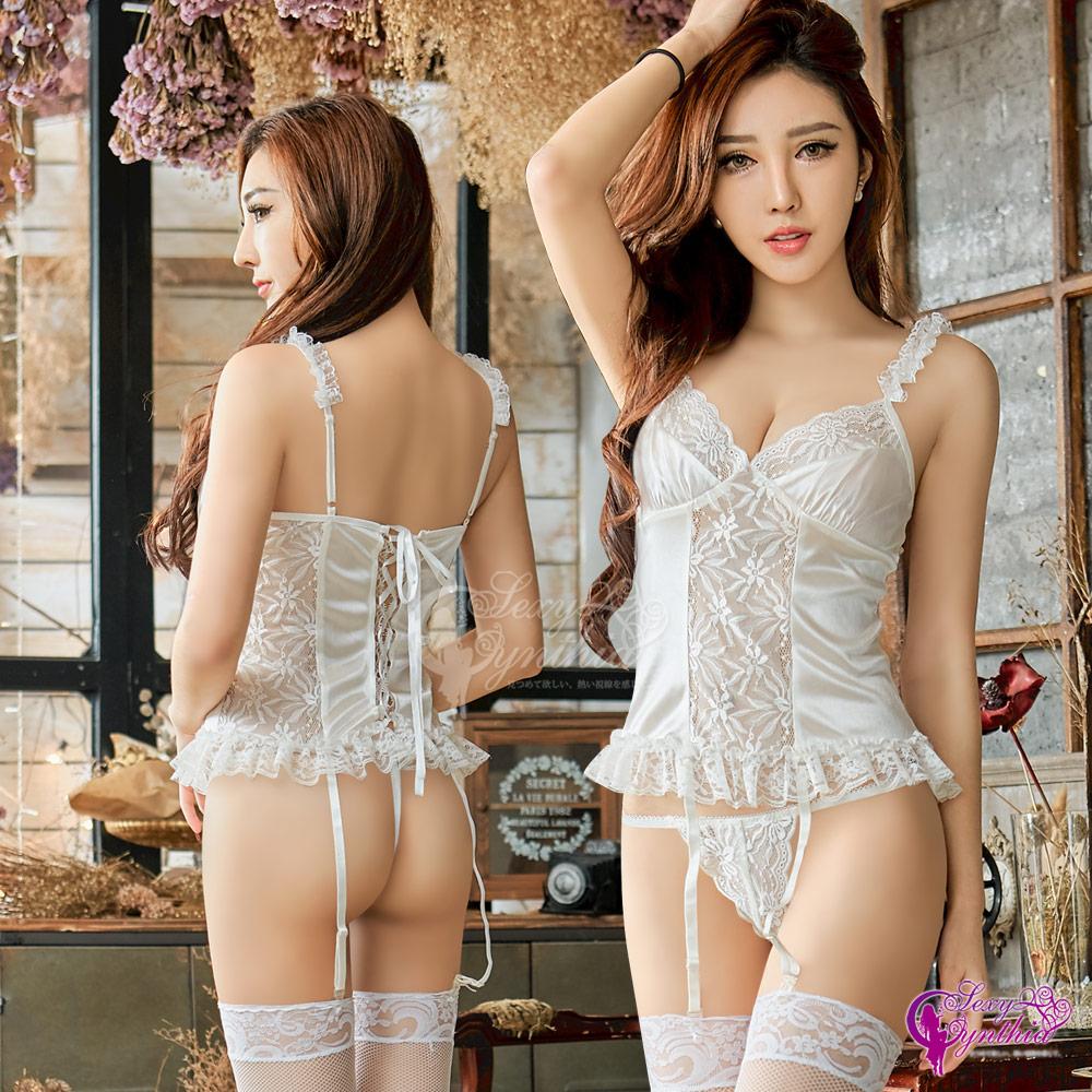 Sexy Cynthia馬甲 誘惑純白柔緞蕾絲馬甲吊襪帶四件組-白F