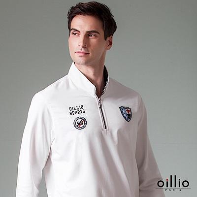 歐洲貴族 oillio 長袖T恤 電繡圖標 立領內側條紋 白色