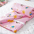 奶油獅 同樂會系列-台灣製造-100%精梳純棉兩用被套(櫻花粉)-7X8雙人特大