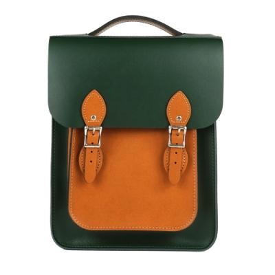 The Leather Satchel 英國原裝手工牛皮經典配色款後揹包 手提包 深綠棕